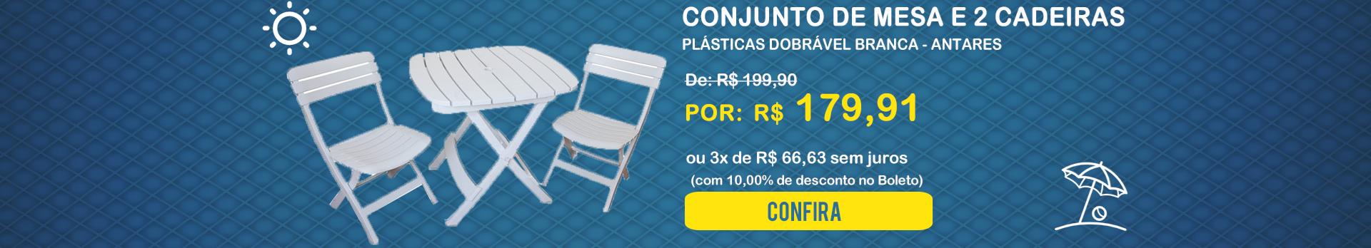 Conjunto de Mesa e 2 Cadeiras Plásticas