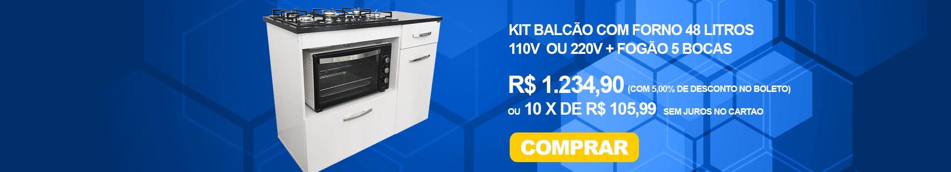Kit Balcão Com Forno 48 Litros 110v e Fogão 5 Bocas