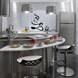 Adesivo  Decorativo de Parede Para Cozinha Xícara e Colher (83x60cm)