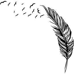 Adesivo  Decorativo  Pena se Tranformando em Pássaros Top (35x35cm)