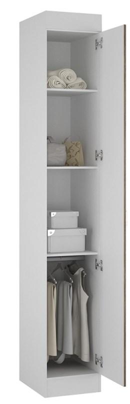 Armário 01 Porta Buri 35100 Branco e Castanho - Palmeira Móveis