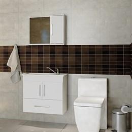 Armário Aéreo Para Banheiro Atenas 65X60 C/ Espelheira  - Mgm