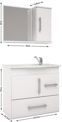 Armário Aéreo Para Banheiro  Fortaleza 65x60 c/Espelheira Castanho/Branco - MGM