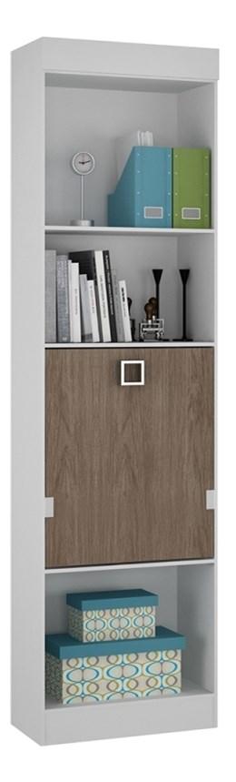 Armário com módulo de estudo buri branco/castanho - Palmeira Móveis