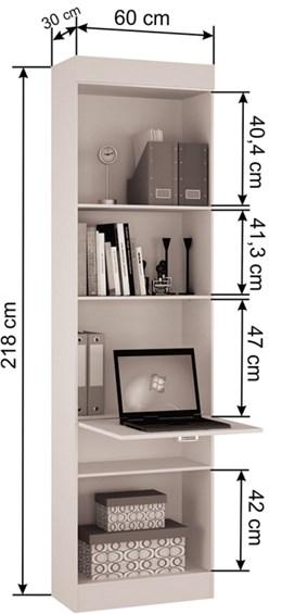 Armário com módulo de estudo buri castanho - Palmeira Móveis