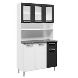 Armário de Cozinha Aço 6 Portas 3 Vidros 1 Gaveta Múltipla Branco Preto - Bertolini