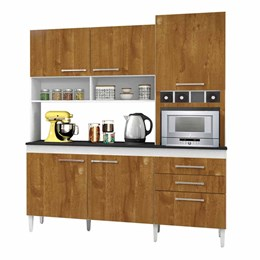 Armário de cozinha Ébano 6 portas Branco/Caramelo - CHF Móveis