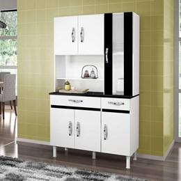 Armário de Cozinha Sampaio 6 Portas e 2 Gavetas Branco e Preto - CHF Móveis