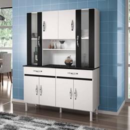 Armário de Cozinha Sampaio 8 Portas e 2 Gavetas Branco e Preto - CHF Móveis