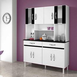 Armário de Cozinha Ventura 8 Portas e 2 Gavetas Branco e Preto - CHF Móveis