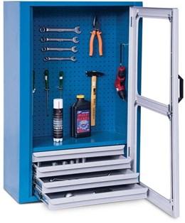 Armário organizador de ferramentas fechado com 1 prateleira e 4 gavetas