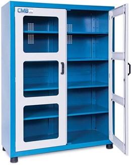 Armário organizador de ferramentas fechado com 4 prateleiras reguláveis e porta com visor em Vidro