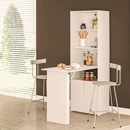 Armário pra Cozinha Com Mesa Dobrável Begônia Branco - Politorno