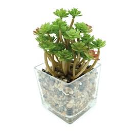Arranjo Artificial Suculenta 15cm Vaso Vidro Yazi Suculenta Floral