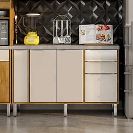 Balcão 3 Portas 2 Gavetas e Porta Condimentos Ágata Caramelo/Off White Chf Móveis