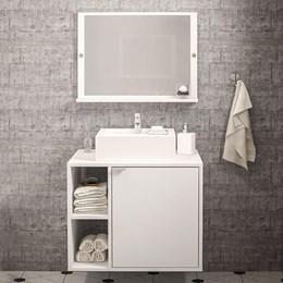 Balcão Com Espelho Para Banheiro Suzano Branco Politorno