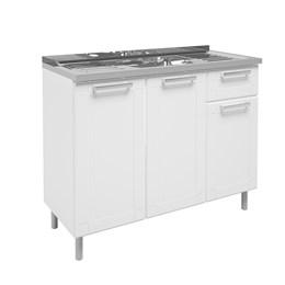 Balcão de Cozinha Com Pia Inox 3 Portas 1 Gaveta Múltipla Branco - Bertolini