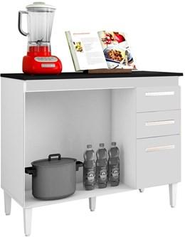 Balcão de Cozinha Tamara 3 Portas e 2 Gavetas Branco - CHF Móveis
