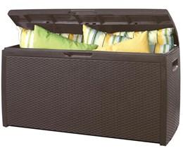 Baú de Plástico Keter Rattan Style com Capacidade de 265 Litros Cor Chocolate