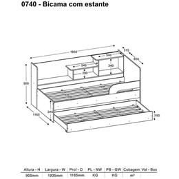 Bicama Solteiro C/Estante Lateral Complementar Multimóveis Branco Brilho