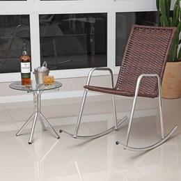 Cadeira De Balanço em Alumínio Com Fibra Sintética /castanho - Alegro Moveis