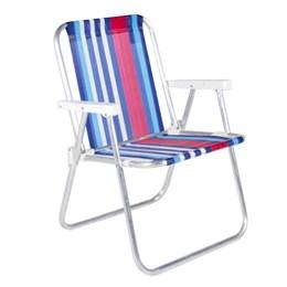 Cadeira De Praia Alta Em Alumínio Branco, Azul e Vermelho Belfix