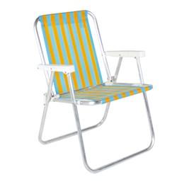 Cadeira De Praia Alta Em Alumínio Laranja e Azul Belfix