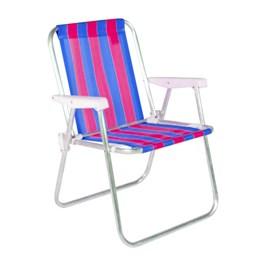 Cadeira De Praia Alta Em Alumínio Rosa e Azul Belfix