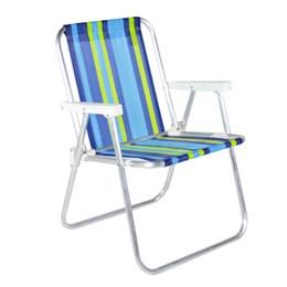 Cadeira De Praia Alta Em Alumínio Verde e Azul Belfix