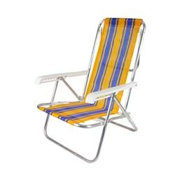 Cadeira de Praia Reclinável 4 Posições Alumínio Amarelo e Azul Belfix
