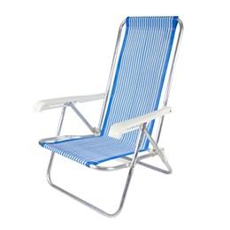 Cadeira de Praia Reclinável 4 Posições Alumínio Céu Azul Belfix