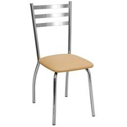 Cadeira em Alumínio com Assento em Courino Bege - Alegro Móveis