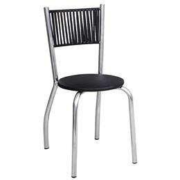 Cadeira em Alumínio  com Assento em Courino e Fibra Preta - Alegro Móveis