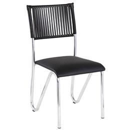 Cadeira em Alumínio em Courino e Fibra Sintética Preto - Alegro Móveis