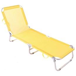 Cadeira Espreguiçadeira Praia Piscina Dobrável Ajustável 5 posições Belfix AMARELO