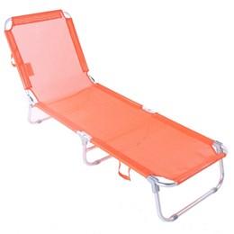 Cadeira Espreguiçadeira Praia Piscina Dobrável Ajustável 5 posições Belfix LARANJA