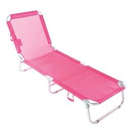 Cadeira Espreguiçadeira Praia Piscina Dobrável Ajustável 5 posições Belfix ROSA