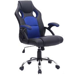 Cadeira Gamer Reclinável Base cromada giratória Preto/Azul - Best