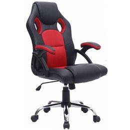 Cadeira Gamer Reclinável Base cromada giratória Preto/Vermelho - Best