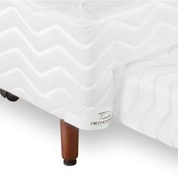 Cama Bibox Solteiro Orthocrin Sommier Plus Branco Pés De Madeira 88x188x26cm