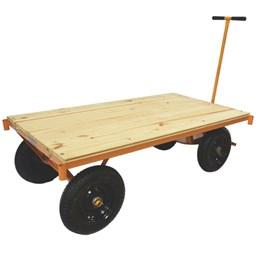 Carro plataforma com tampo em madeira capacidade 600 kg MP-600