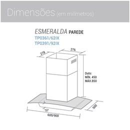 Coifa Parede Esmeralda 90cm Inox 220V - Suggar