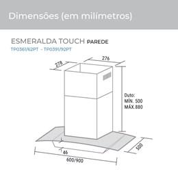 Coifa Parede Esmeralda Touch 90 cm Preta 220V Suggar