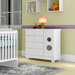 Cômoda Infantil 1 Porta 4 Gavetas Young Branco - Tigus Baby