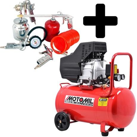 Compressor De Ar 2,5hp 50L 8,8Pes Bivolt com Kit Pintura - Motomil