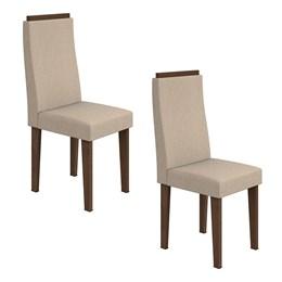 Conjunto 2 Cadeiras Dafne Imbuia/Linho Rinzai Bege Móveis Lopas