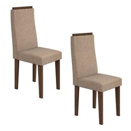 Conjunto 2 Cadeiras Dafne Imbuia/Velvet Riscado Bege Móveis Lopas