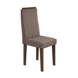 Conjunto 2 Cadeiras Dafne Imbuia/Velvet Riscado Castor Móveis Lopas