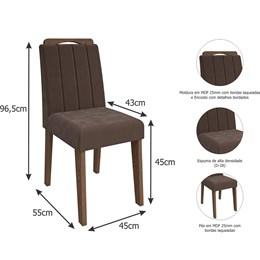 Conjunto 2 Cadeiras Elisa Savana/ Chocolate Cimol