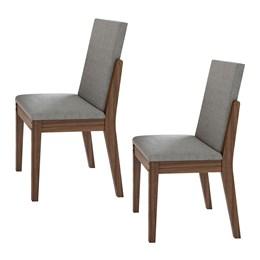 Conjunto 2 Cadeiras Lira Imbuia Naturale/Linho Gris